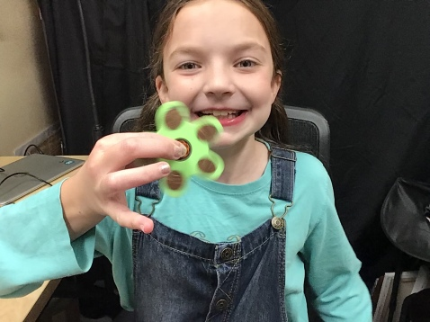 Josie with 3d printed fidget spinner